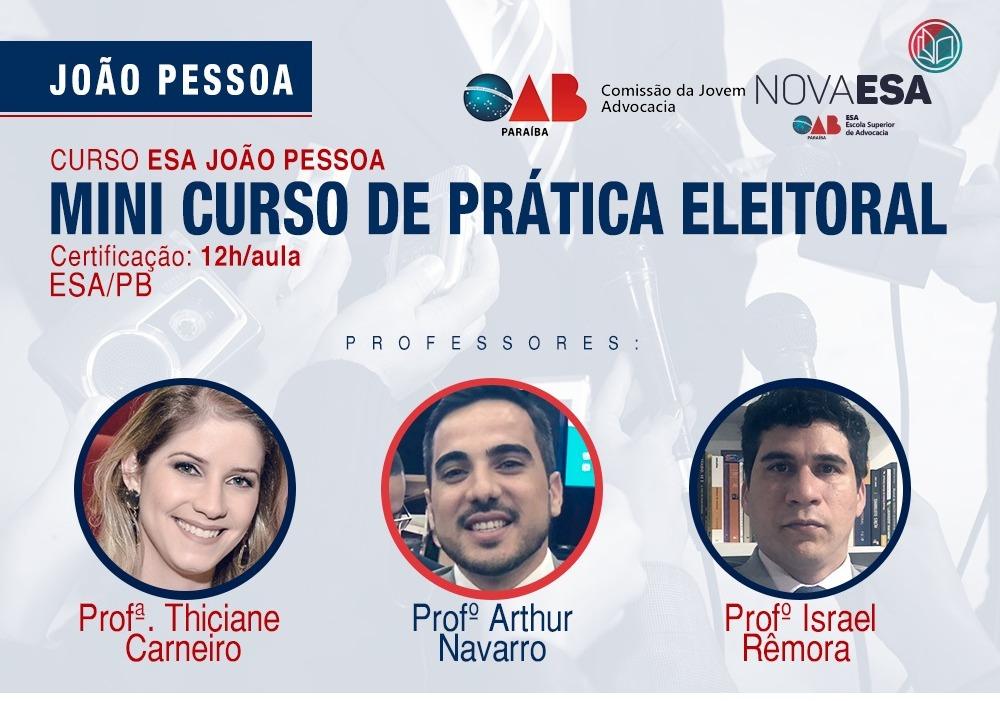 OAB-PB realizará Mini Curso de Prática Eleitoral; participe