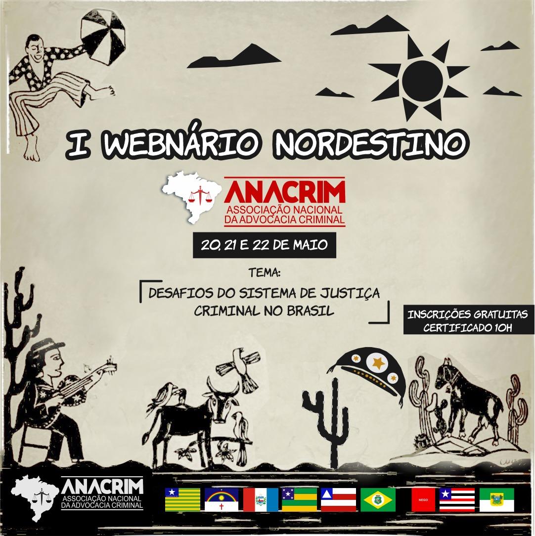 OAB-PB apoia I Webnário Nordestino da ANACRIM que ocorrerá nos dias 20, 21 e 22 de maio