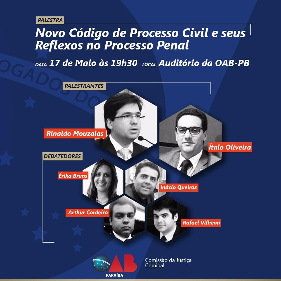 OAB-PB realizará palestra sobre novo Código de Processo Civil e Reflexos no Processo Penal