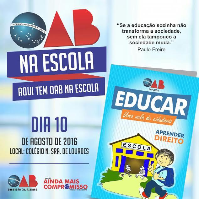 Semana do Jurista: Subseção de Cajazeiras inicia atividades do projeto 'OAB na Escola' na próxima quarta