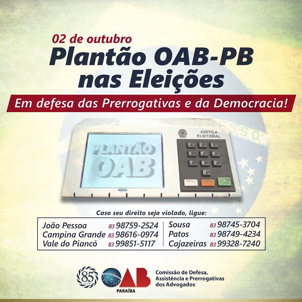 OAB-PB realizará plantão para defender prerrogativas dos advogados no dia das eleições
