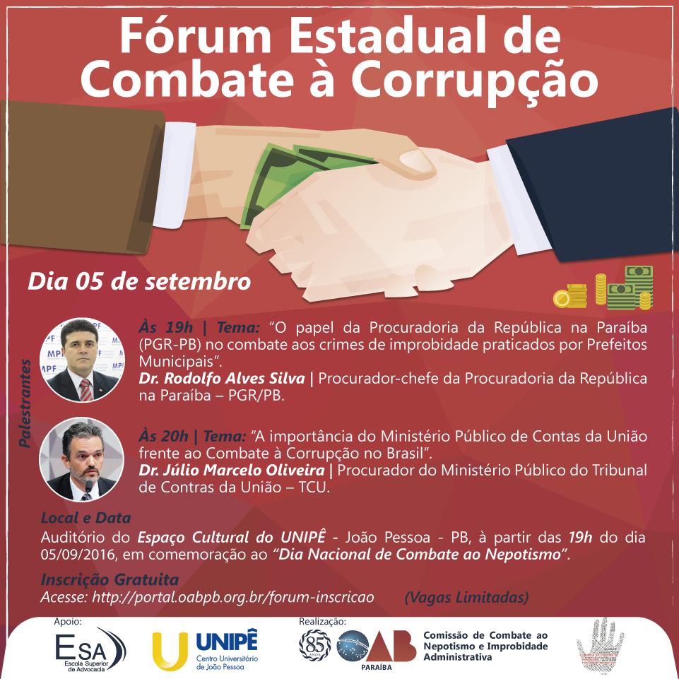 Comissão da OAB-PB realiza fórum estadual de combate à corrupção nesta segunda-feira