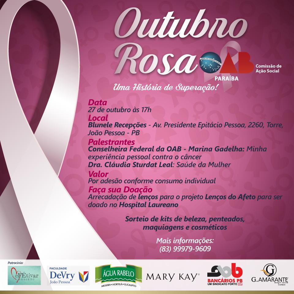 Comissão de Ação Social da OAB-PB realiza atividades em comemoração ao 'Outubro Rosa'; participe