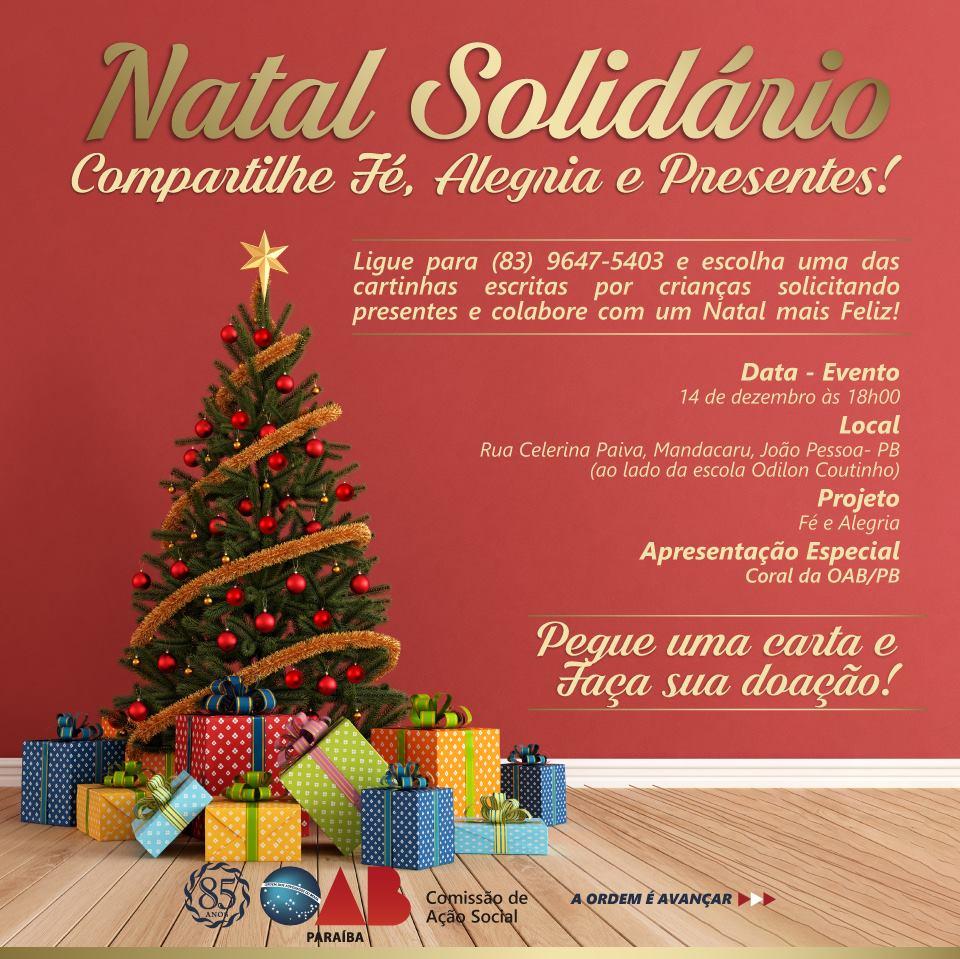 Comissão de Ação Social da OAB-PB realiza Natal Solidário; participe
