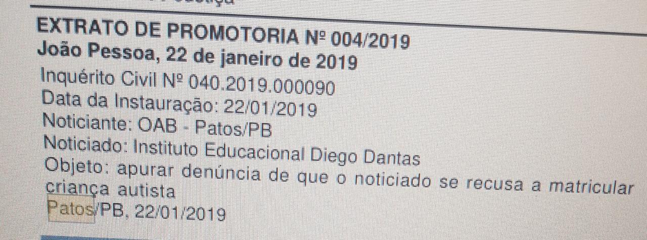 OAB denuncia ao Ministério Público escola que se recusou a matricular criança autista em Patos