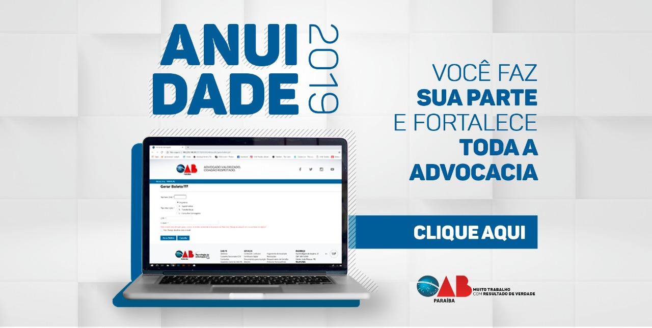 Boletos da anuidade 2019 são impressos no site da OAB-PB