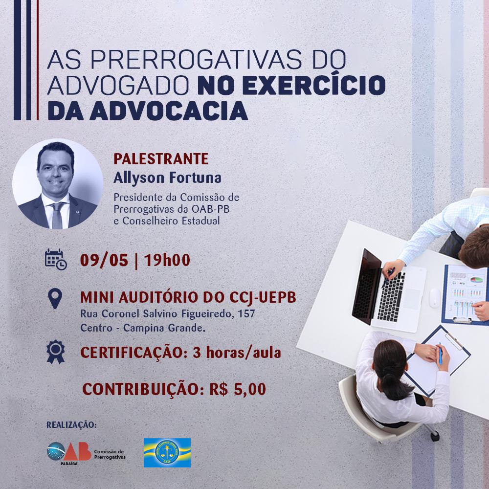 """OAB-PB intensifica ações do projeto """"Prerrogativas nas Universidades"""" com palestra na UEPB"""