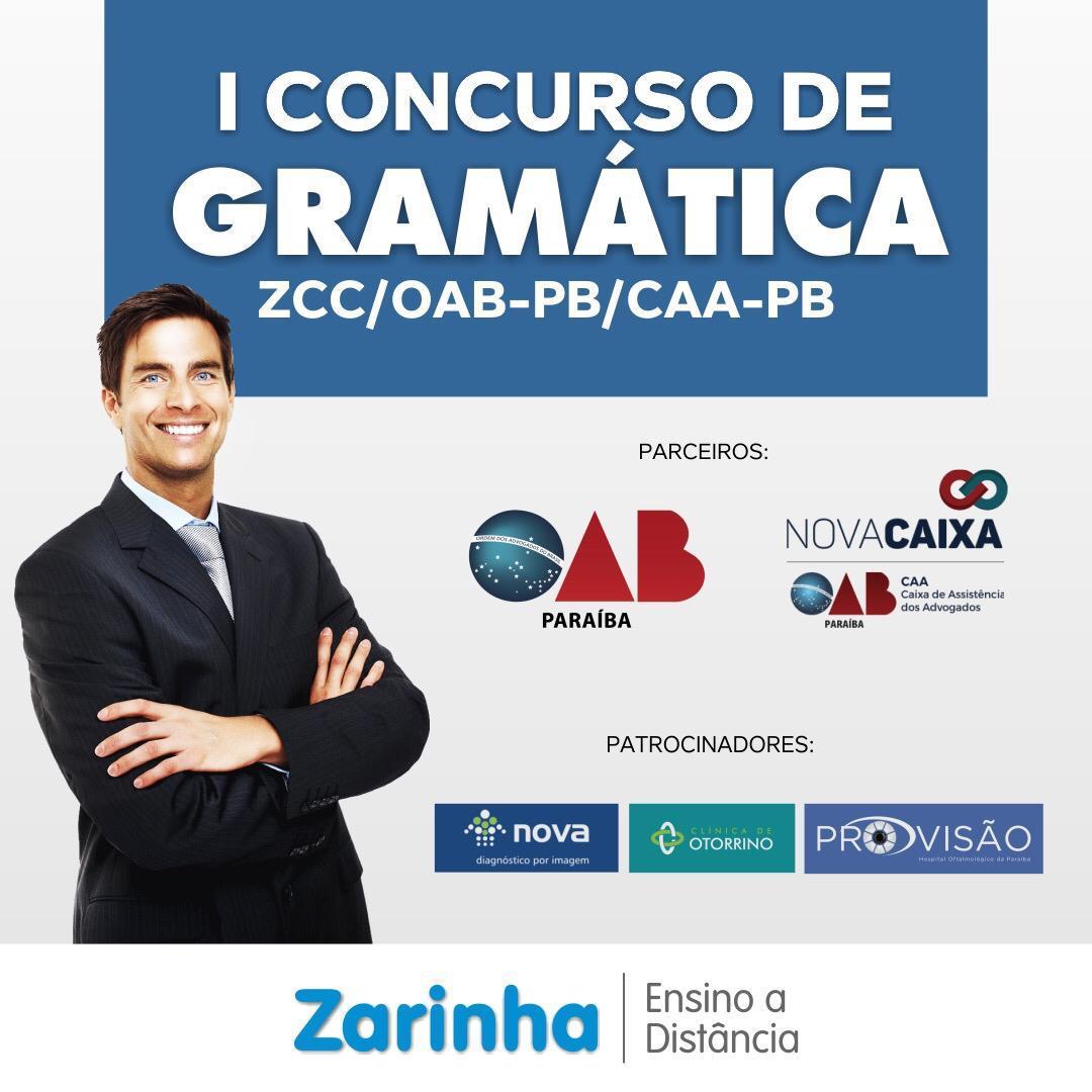 OAB-PB, CAA-PB e Zarinha Centro de Cultura promoverão concurso de Gramática para advogados