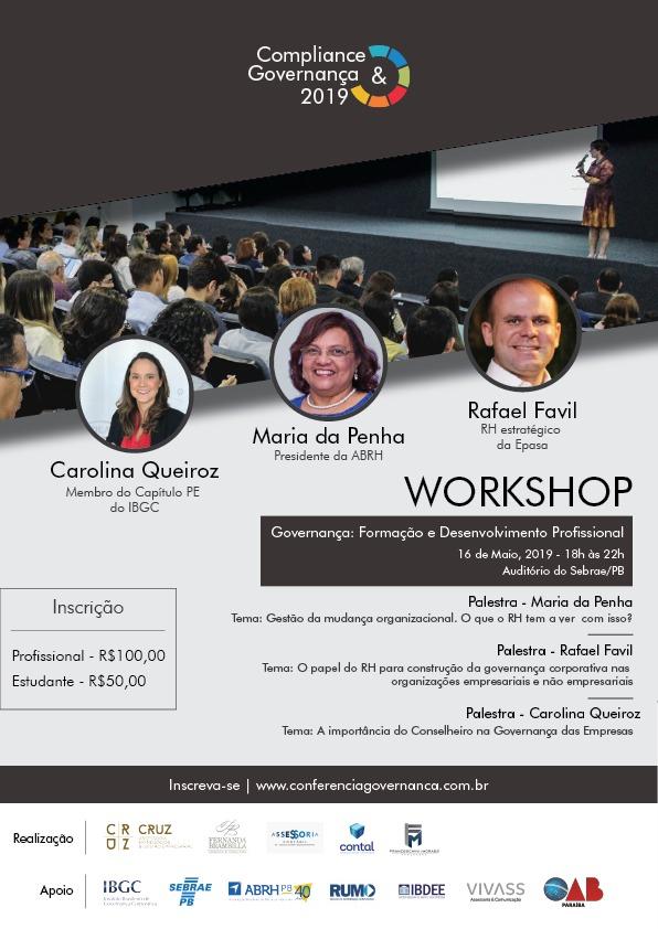 Workshop Governança: Formação e Desenvolvimento Profissional acontece no próximo dia 16