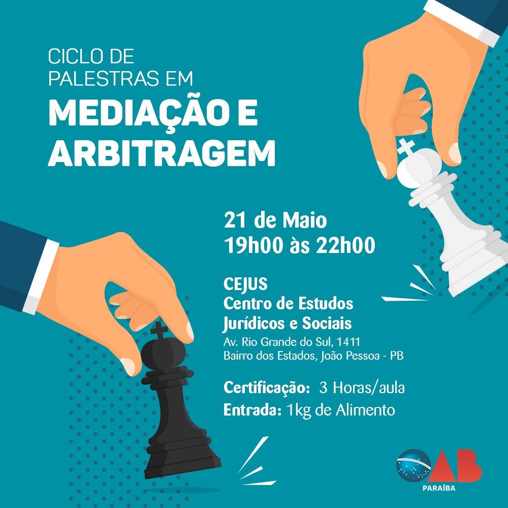 OAB-PB realiza Ciclo de Palestras em Mediação e Arbitragem; participe