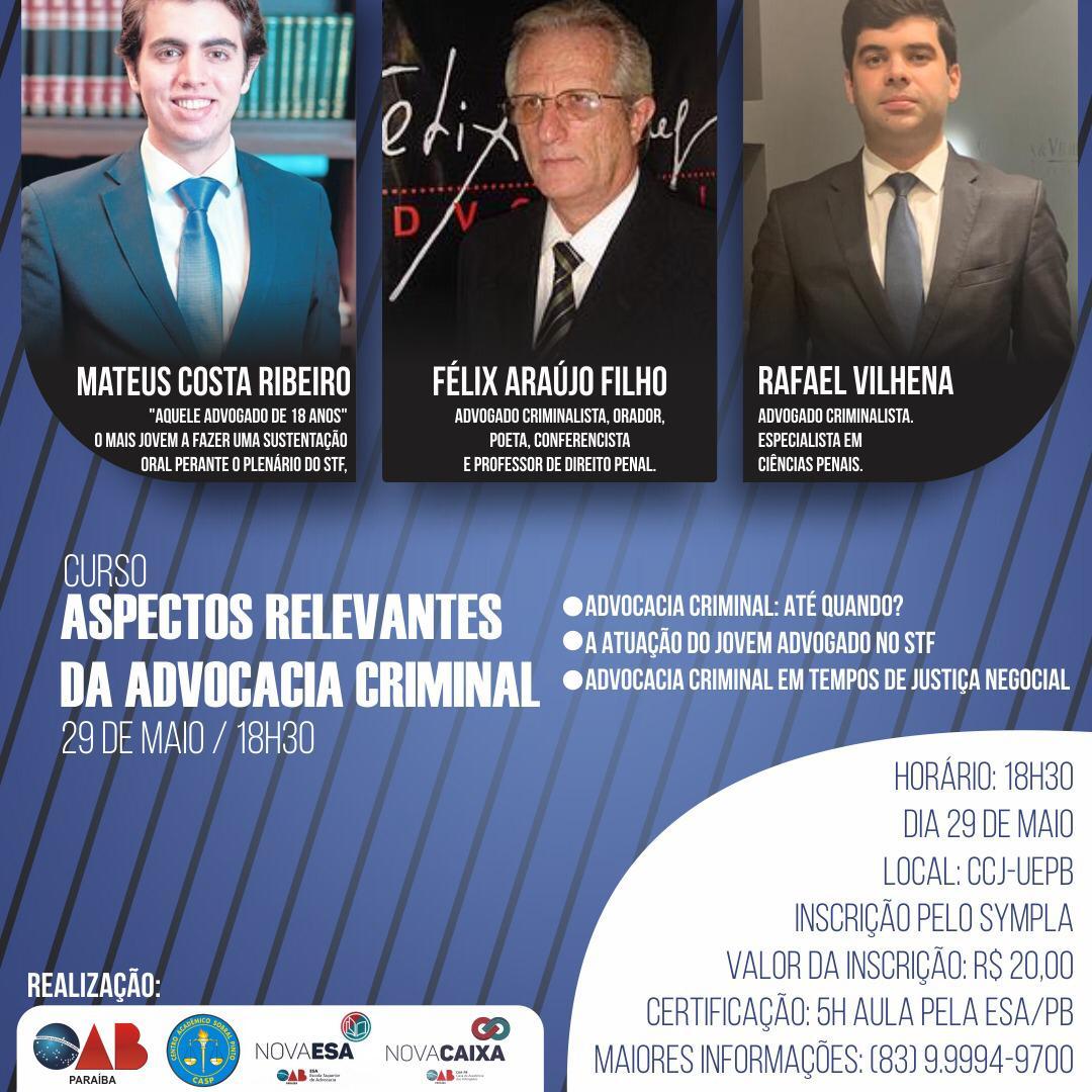 Curso sobre Aspectos Relevantes da Advocacia Criminal será realizado na próxima quarta em Campina Grande