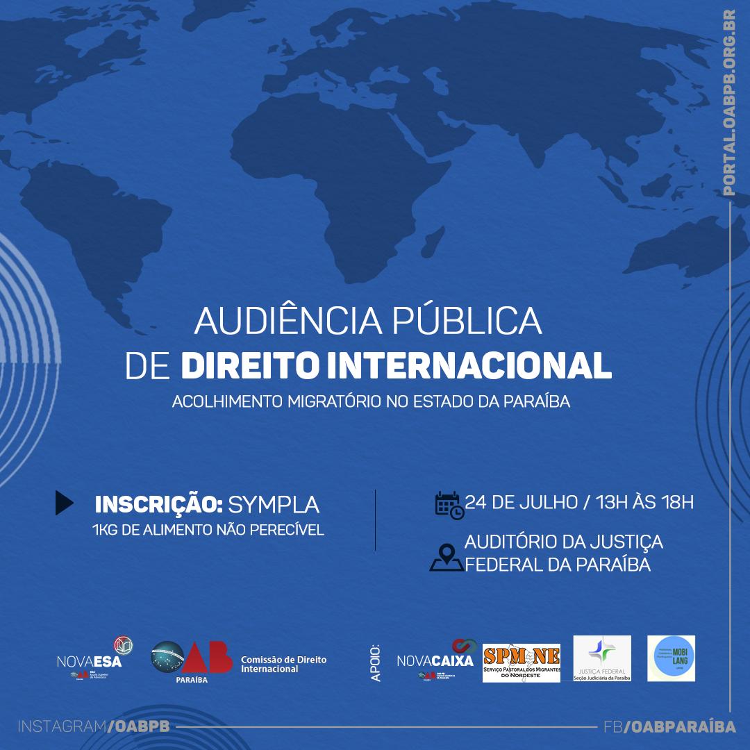 OAB-PB debaterá situação de refugiados na Paraíba durante audiência pública