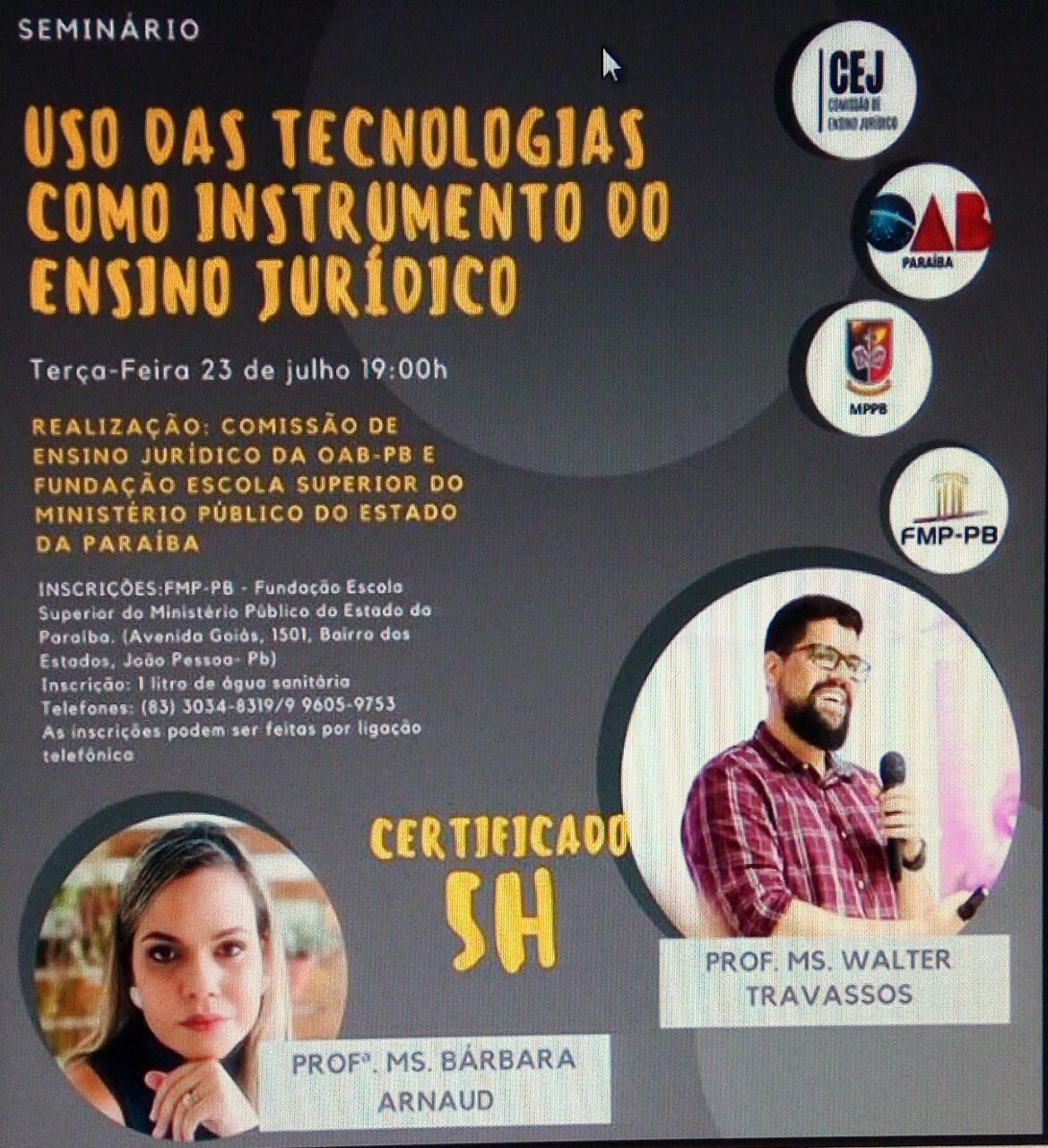 OAB-PB e FESMIP realizarão seminário sobre uso das tecnologias como instrumento do ensino jurídico