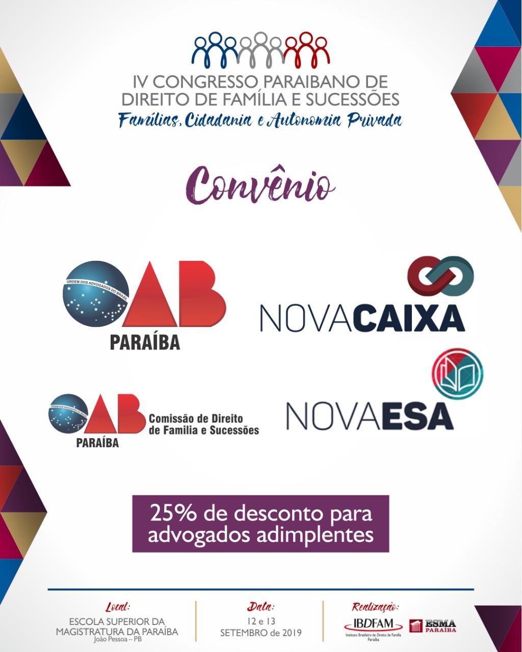 OAB-PB firma convênio com o IBDFAM e advogados terão desconto no IV Congresso Paraibano de Direito de Família e Sucessões