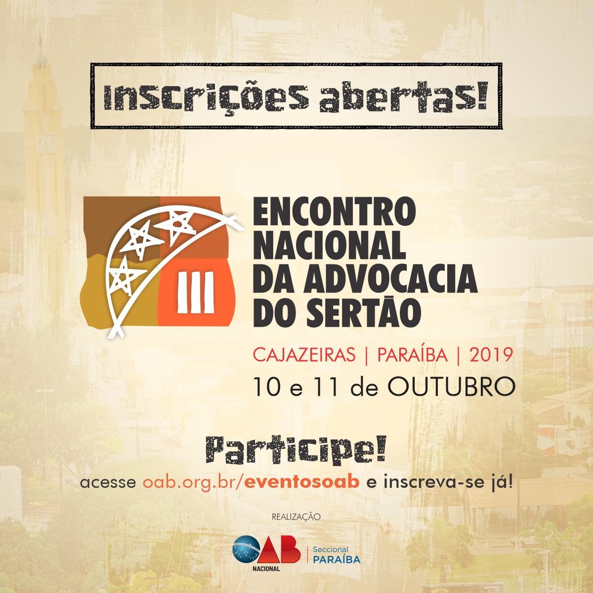 OAB abre inscrições para o III Encontro Nacional da Advocacia do Sertão em Cajazeiras