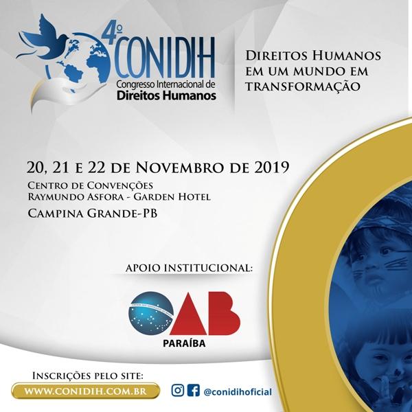 Inscrições abertas para o IV Congresso Internacional de Direitos Humanos