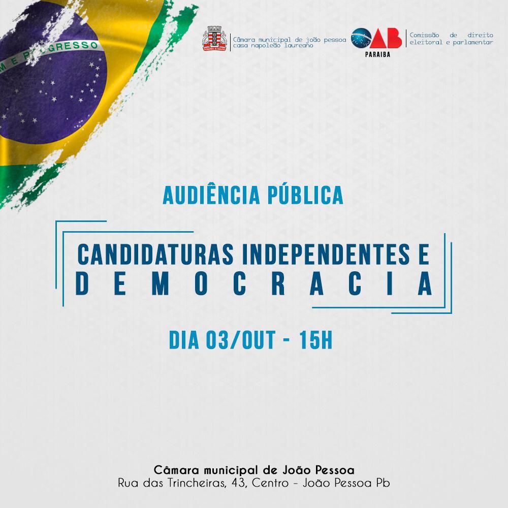 OAB-PB participa de audiência pública para debater candidaturas independentes nas eleições