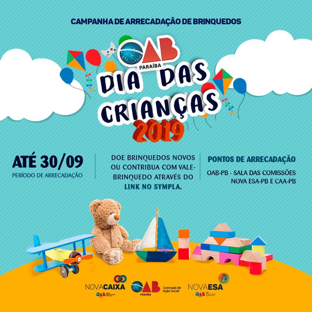 OAB-PB realiza campanha de doação de brinquedos em alusão ao mês das crianças; participe