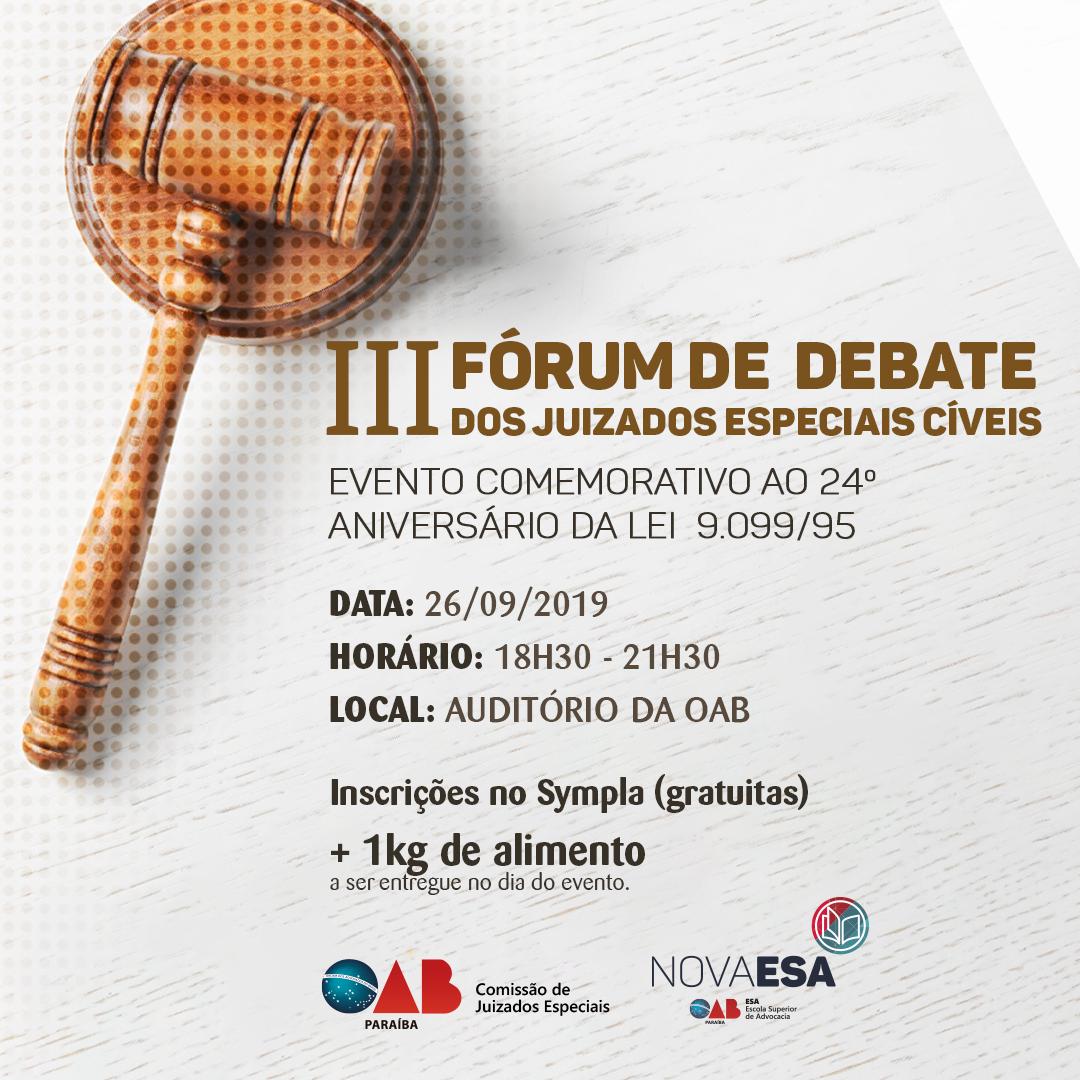 OAB-PB realiza III Fórum de Debates sobre os Juizados Especiais Cíveis; participe