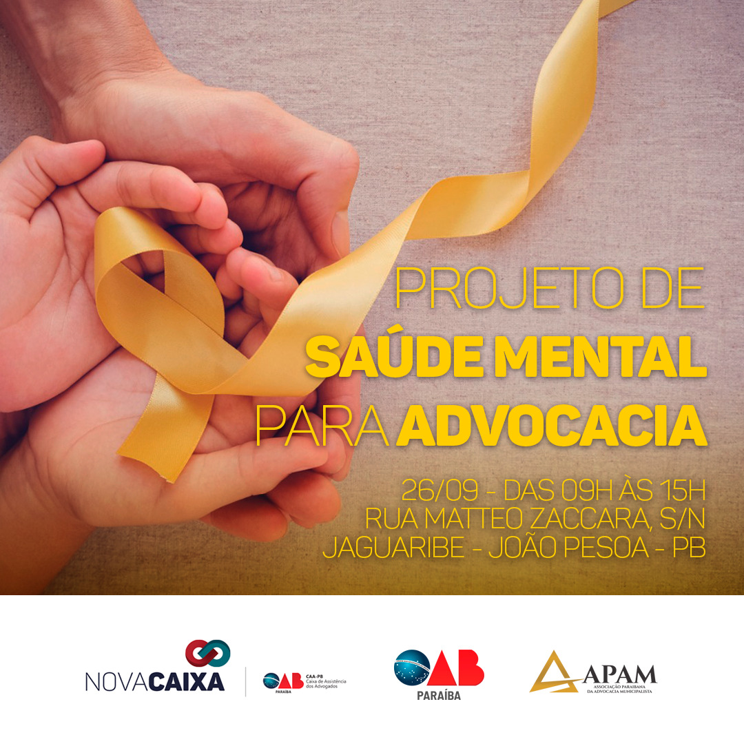 CAA-PB lança projeto de Saúde Mental para a advocacia nesta quinta