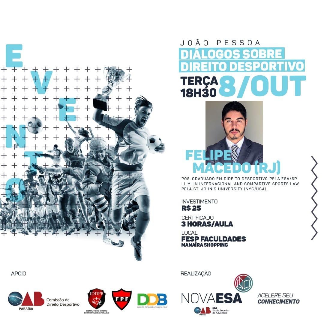 ESA-PB realiza 'Diálogos sobre Direito Desportivo' nesta terça; participe