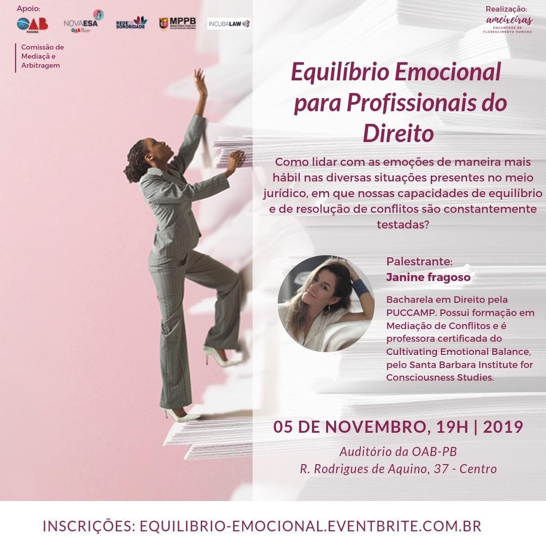 Palestra sobre equilíbrio emocional para profissionais do Direito acontece no próximo dia 05 de novembro; participe