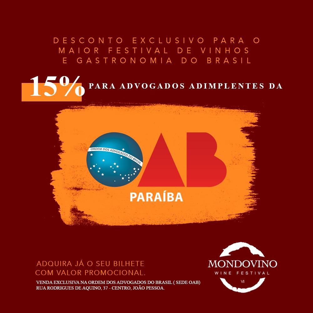 OAB-PB firma convênio e advogados têm 15% de desconto nos ingressos do Mondovino Wine Festival
