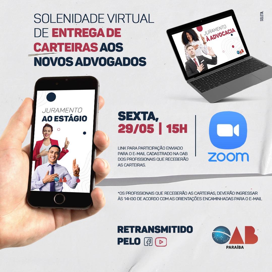 OAB-PB realizará solenidade virtual de entrega de carteiras na próxima sexta; confira nomes