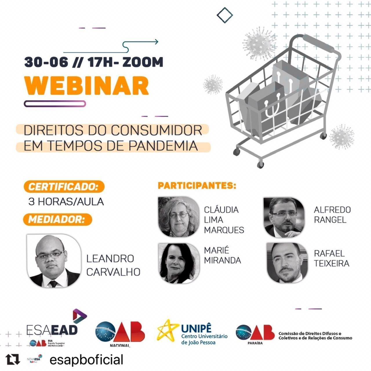 """Nova ESA e OAB nacional realizam Webinar sobre """"Direitos do Consumidor em tempos de pandemia nesta terça"""