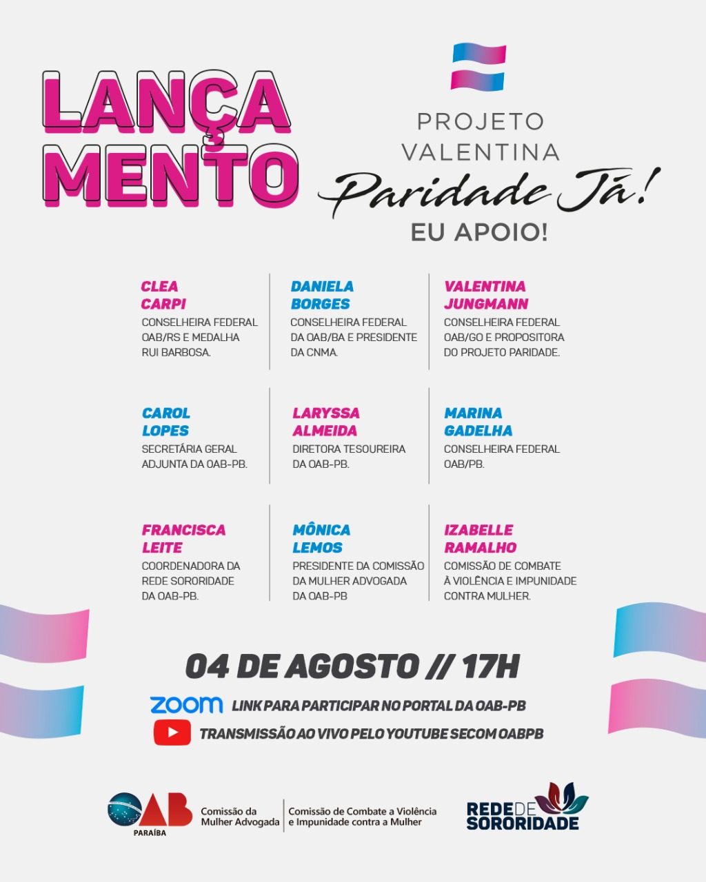 """Redes Femininas da OAB-PB lançam """"Projeto Valentina"""" na próxima terça-feira"""