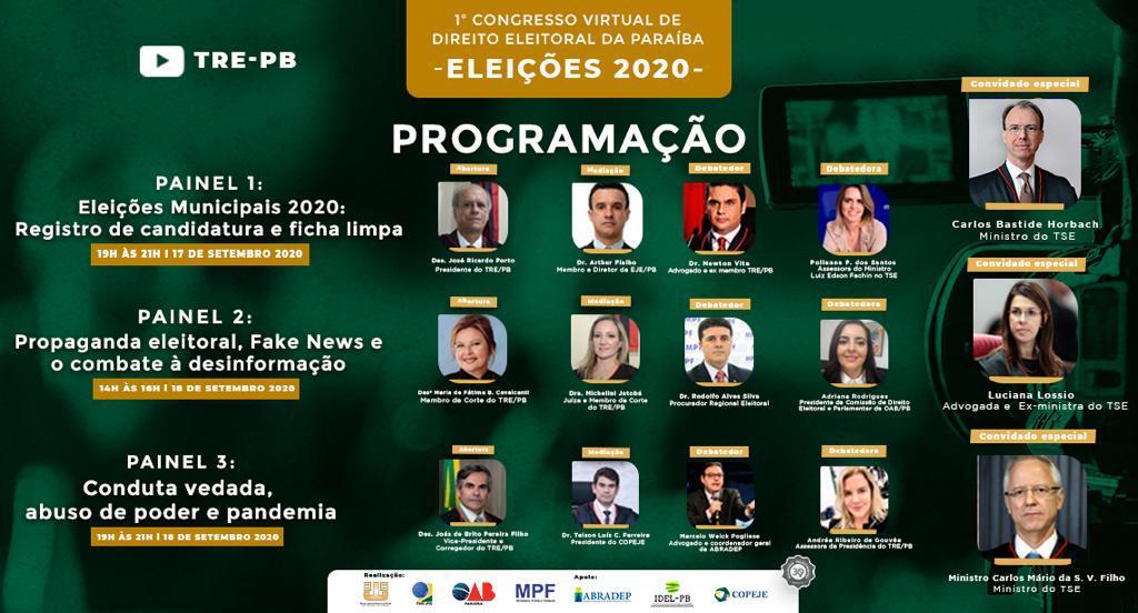 OAB-PB apoia I Congresso Virtual de Direito Eleitoral da Paraíba: Eleições 2020 promovido pelo TRE