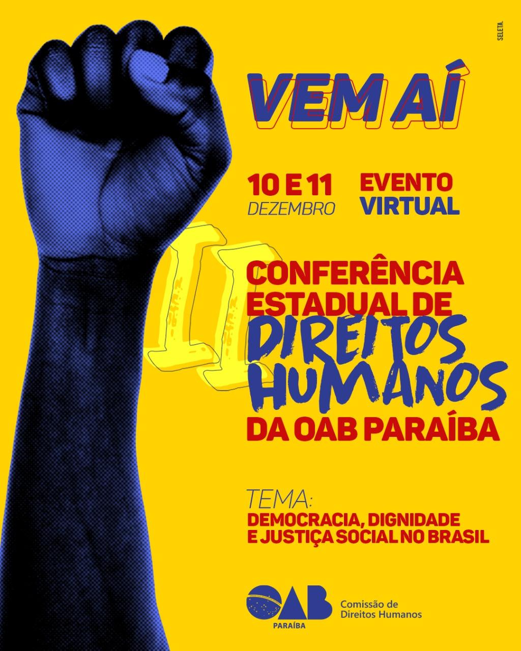 OAB-PB realizará II Conferência Estadual de Direitos Humanos nos dias 10 e 11 de dezembro; participe