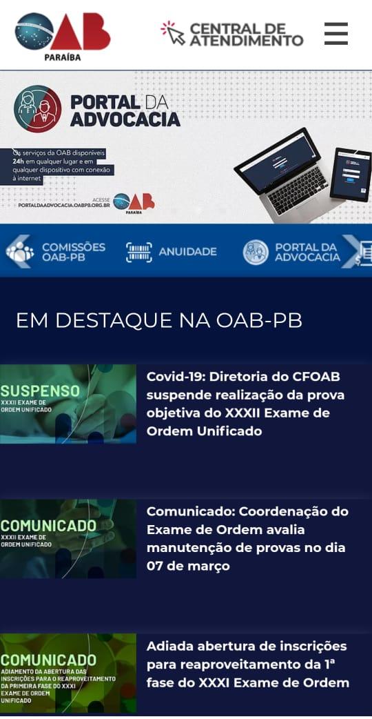 OAB-PB lança novo site e reforça canais de interação com a advocacia